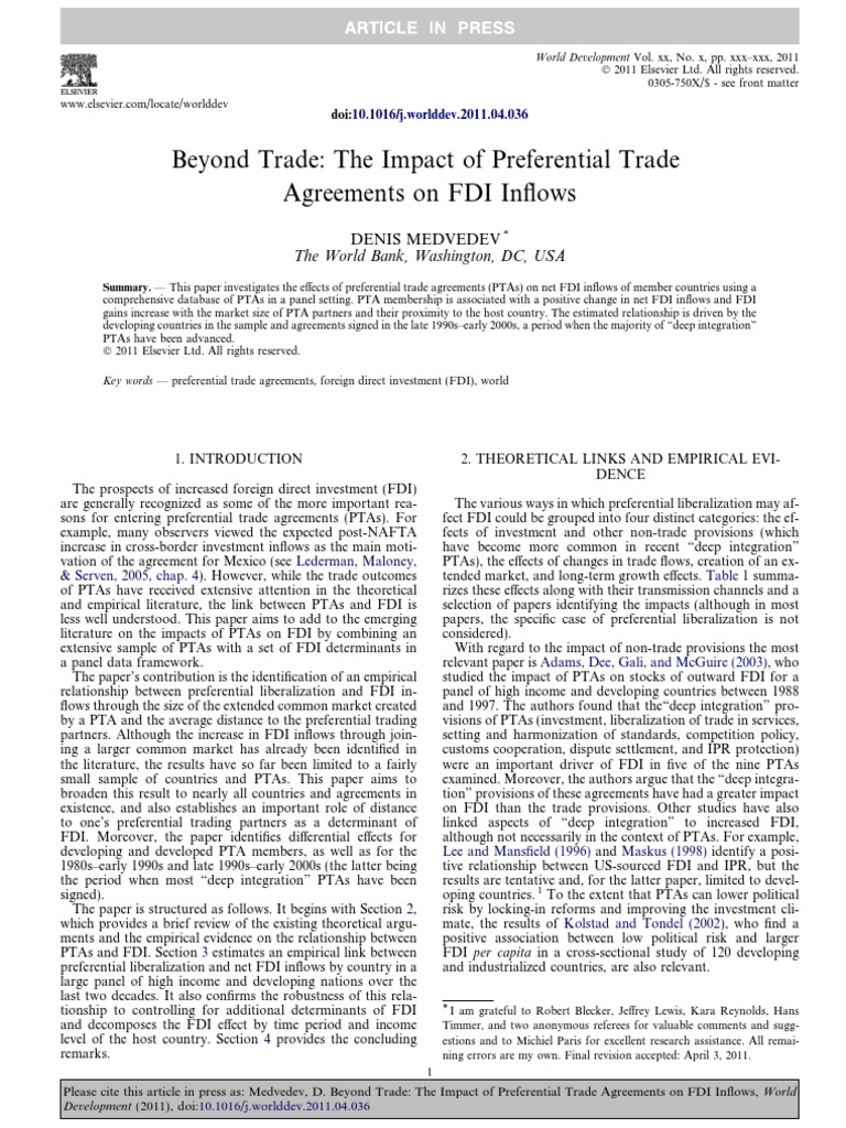 Impact Of Preferential Trade Agreements On Fdi Foreign Direct