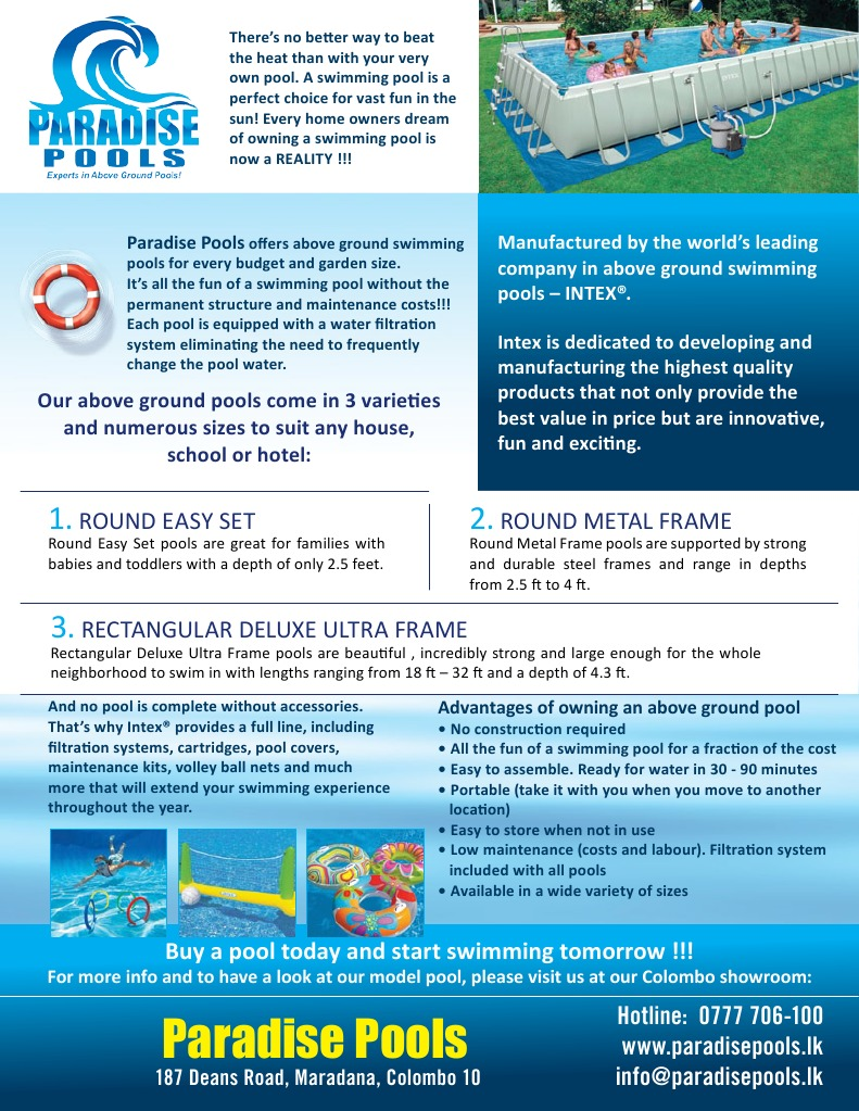 Paradise Pools Flyer With Price List | Swimming Pool | Human ...