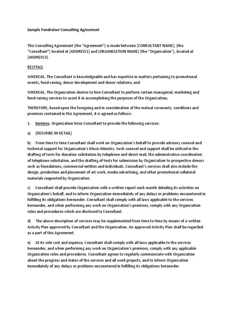 Fundraiser consulting agreement arbitration indemnity platinumwayz