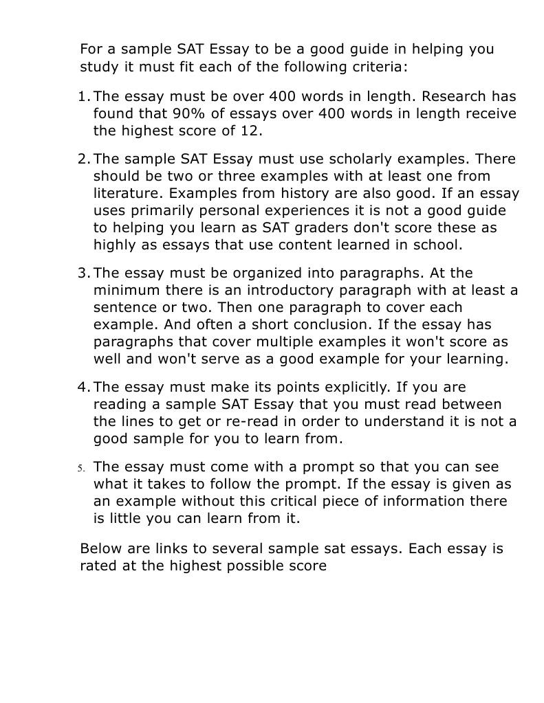Essay on sat