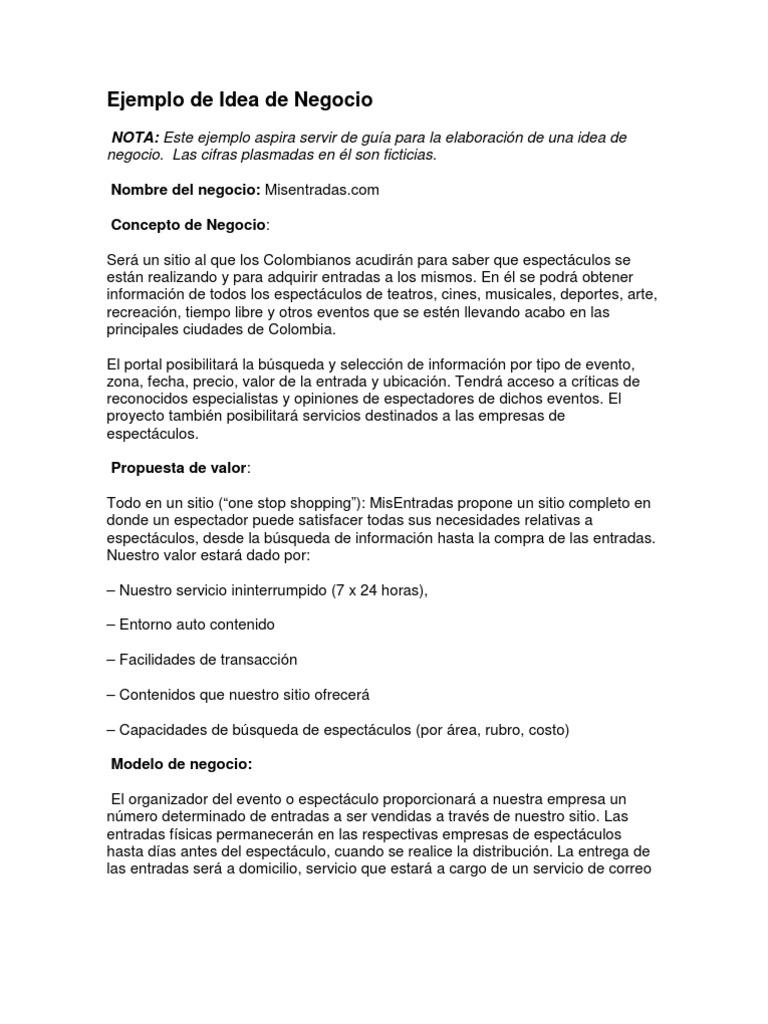 Ejemplo de idea de negocio for Plan de negocios ejemplo pdf