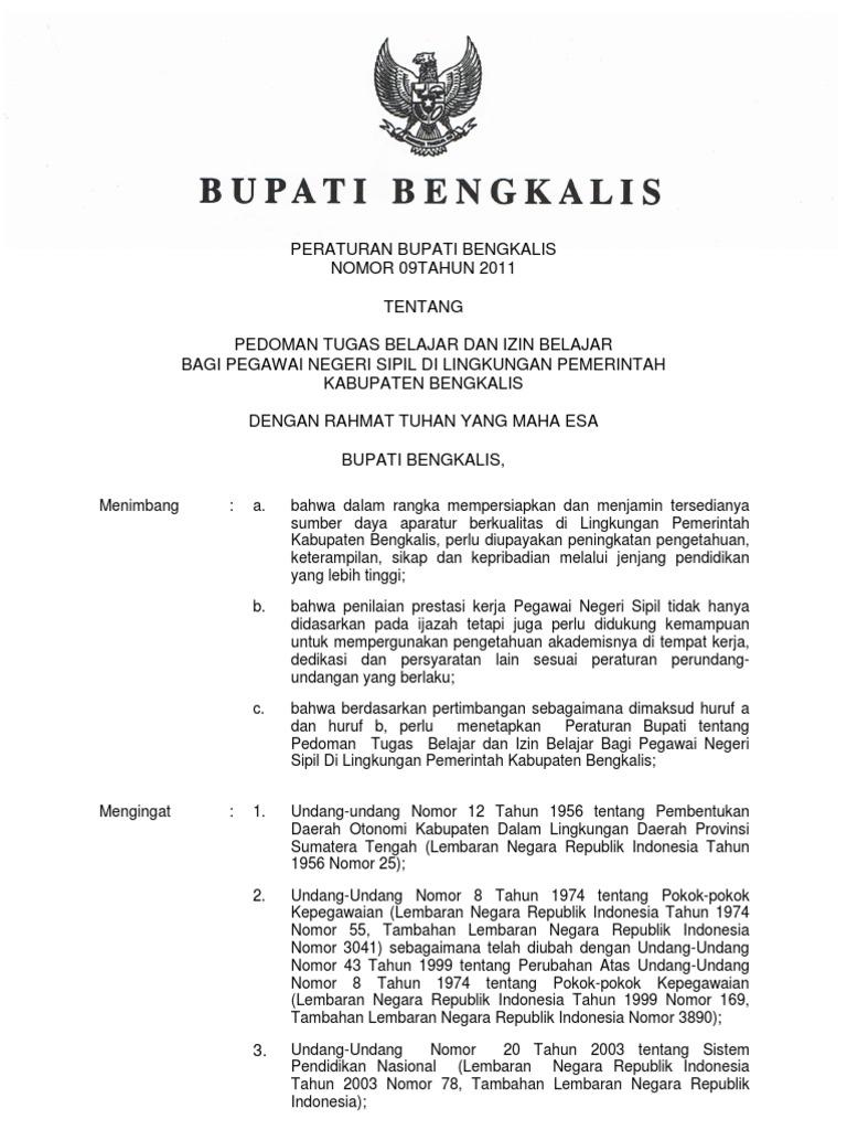 Peraturan Bupati Bengkalis Nomor 09tahun 2011 Tentang Pedoman Tugas