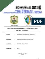 """CONFIGURACION BASICA DEL PENTAHO SERVER Y REPORT DESIGNER"""""""