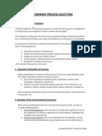 Preliminary Process Selection