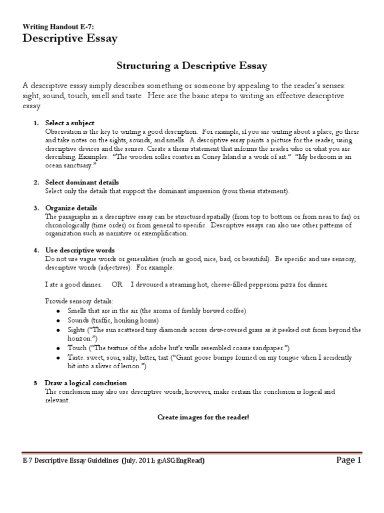 descriptive essay format