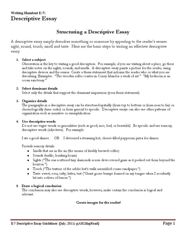 e descriptive essay guidelines  taste  essays