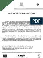 COMUNICAT DE PRESA AMENAJARE PARC IN MUNICIPIUL PASCANI