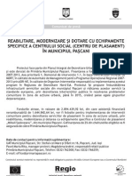 COMUNICAT DE PRESA REABILITARE, MODERNIZARE SI DOTARE CU ECHIPAMENTE SPECIFICE A CENTRULUI SOCIAL ( CENTRU DE PLASAMENT) IN MUNICIPIUL PASCANI