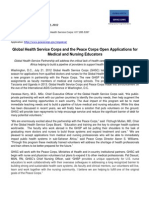 Peace Corps Global Health Service Corps Applications