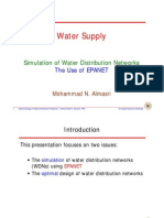 Simulation of Water Distribution Networks the Use of EPANET
