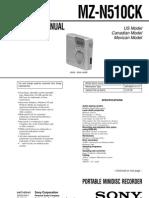 Sony MZ-N510 Service Manual