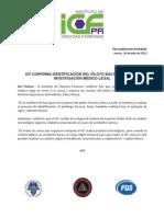 Comunicado de Prensa - Investigación médico legal en caso de piloto Francisco Bacó