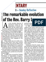 """""""The Remarkable Evolution of the Rev. Barry Lynn"""" by Dimitri Cavalli in the Washington Examiner (June 24, 2012), p. 30"""