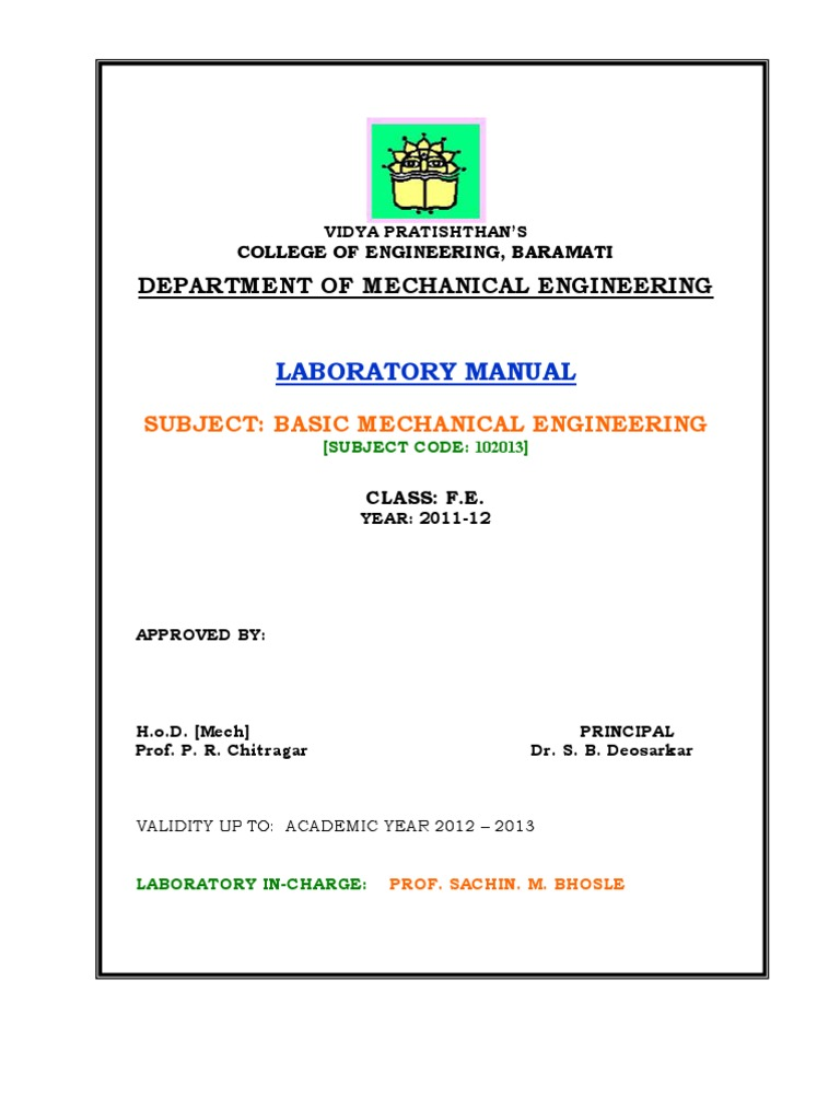 bme lab manual fe gear internal combustion engine rh scribd com Mechanical Engineering Lab for Teens Modern Engineering Lab