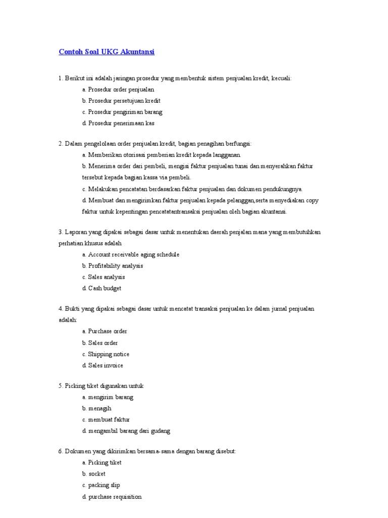 Contoh Soal Ukg Akuntansi