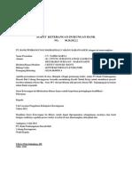 Surat Keterangan Dukungan Bank