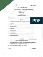 Osmania University  LLB Question Papers - Semester I