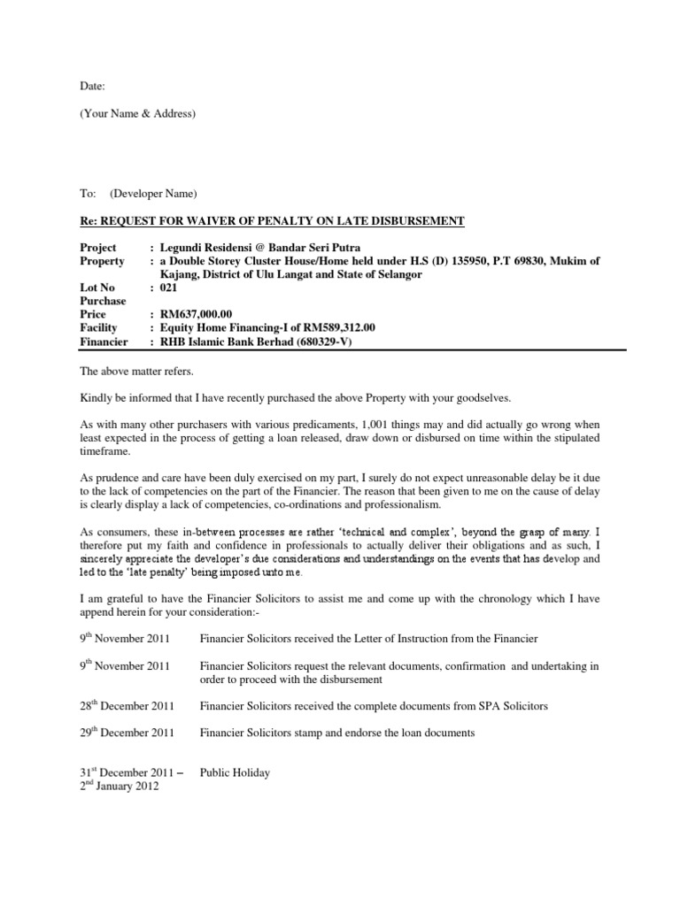 penalty waiver request letter sample Letter Request Waiver on Penalty Interest | Common Law | Social ...
