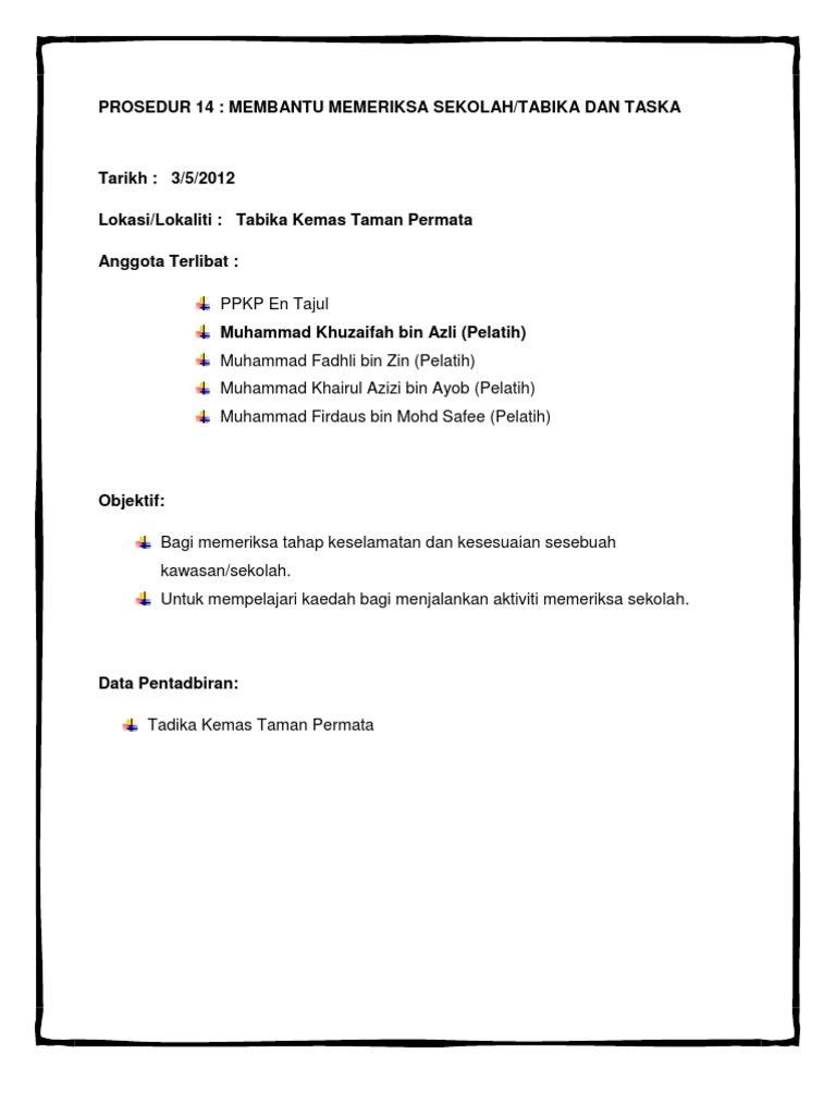 Prosedur 14 Membantu Memeriksa Sekolah Tadika Taska bee42fffba
