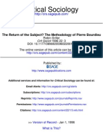 The Return of the Subject the Methodology of Pierre Bourdieu