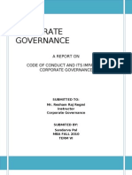 Code of Conduct and its impact on corporate governance
