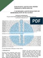 Studi Pengaruh Bulking Agents Pada Proses Bioremediasi Lumpur Minyak