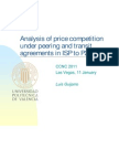 Analysis of Price Competition under Peering and Transit Agreements in Internet Service Provision to Peer-to-Peer Users