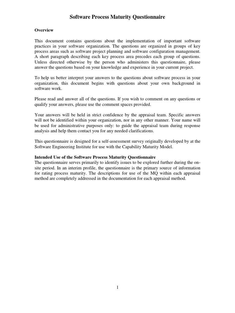 quality assessment questionnaire