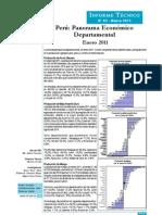 Panorama Económco Departamental - Enero 2011