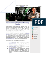 This Week's Stouffer Report - Governor Vetoes Legislation Protecting Freedom