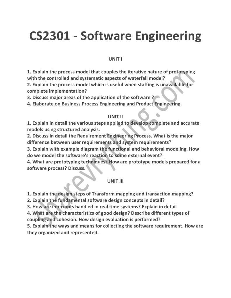 Cs2301 Software Engineering Pdf