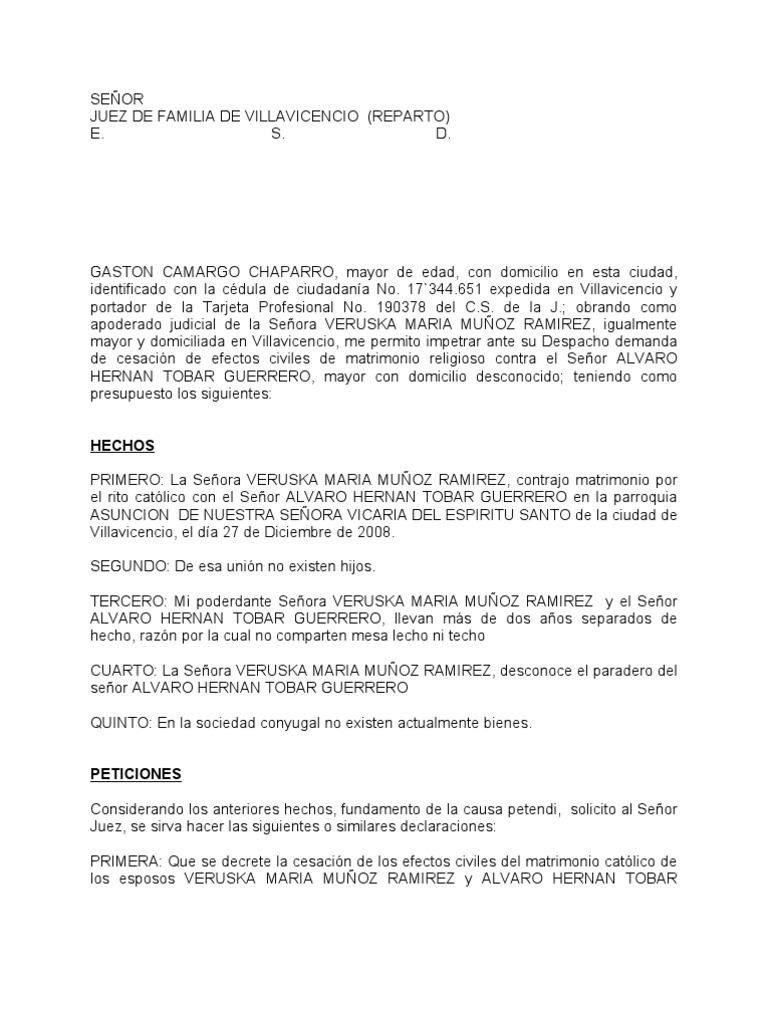 Juramento Matrimonio Catolico : Modelo demanda contenciosa de cesacion efectos civiles