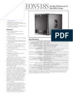 JBL EON 518s Subwoofer Specs Sheet
