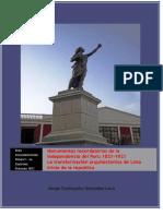 Monumentos Recordatorios de La Independencia del Peru 1821. Doc