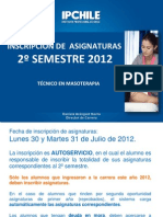 Inscripción asignaturas 2º semestre MASOTERAPIA