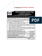 Advertisement CCMT 2012 Detailed
