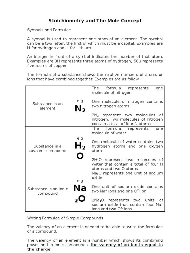 Stoichiometry And The Mole Concept Notes Mole Unit Molecules