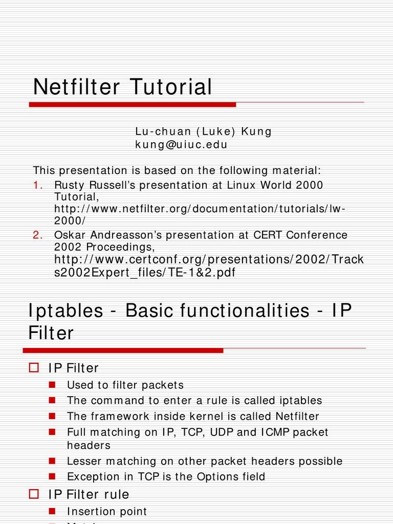 Netfilter Tutorial | Firewall (Computing) | Port (Computer