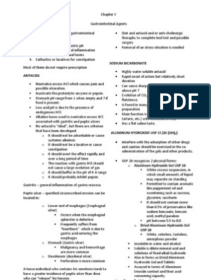Chapter 5 - Gastrointestinal Agents Reviewer | Magnesium | Diarrhea