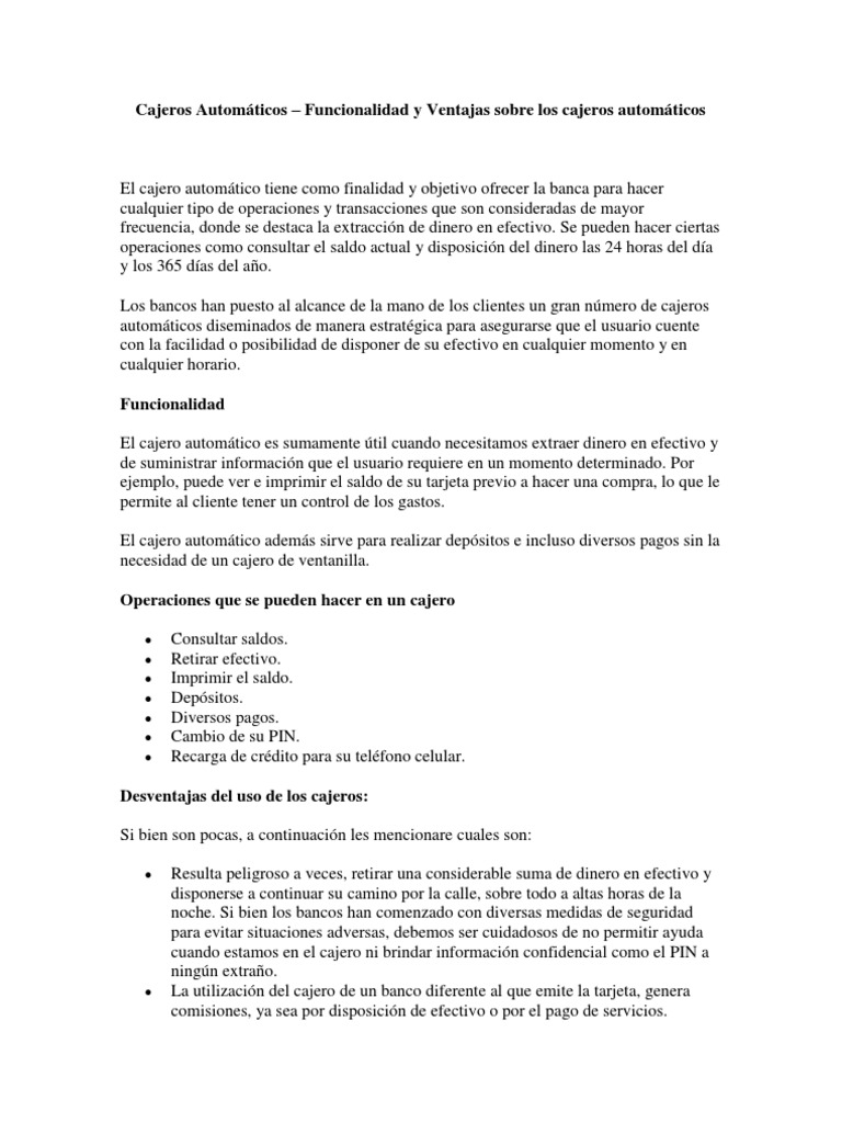 Cajeros automaticos ventajas sobre los cajeros automaticos for Los cajeros automaticos