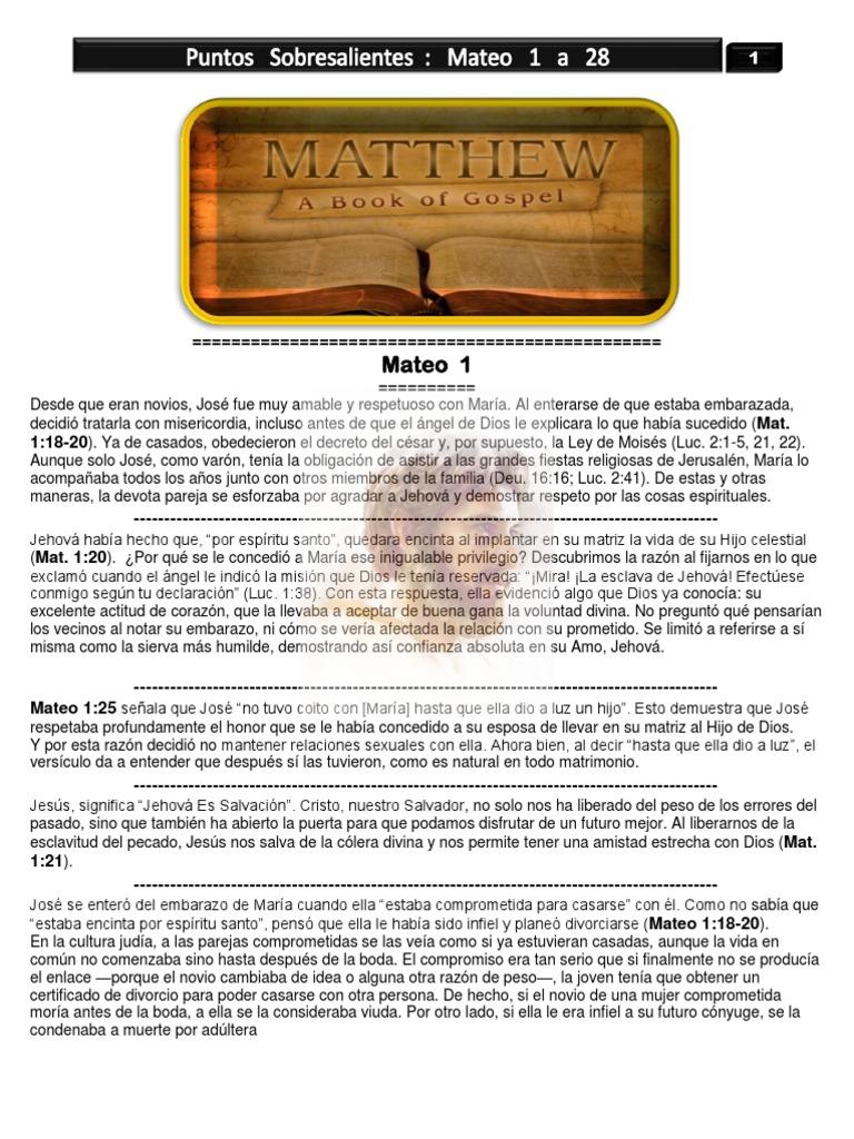 40- Puntos Sobresalientes de la Biblia Mateo 1 a 28 -(Bible ...
