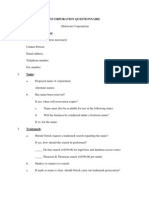 Incorporation Questionnaire for Startups from Orrick, Herrington & Sutcliffe LLP