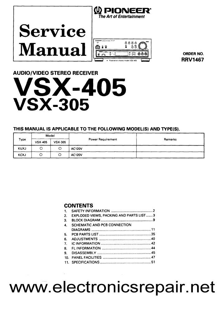 pioneer vsx 05 series service rh scribd com Pioneer 5 1 Receiver Top Rated Pioneer Receivers