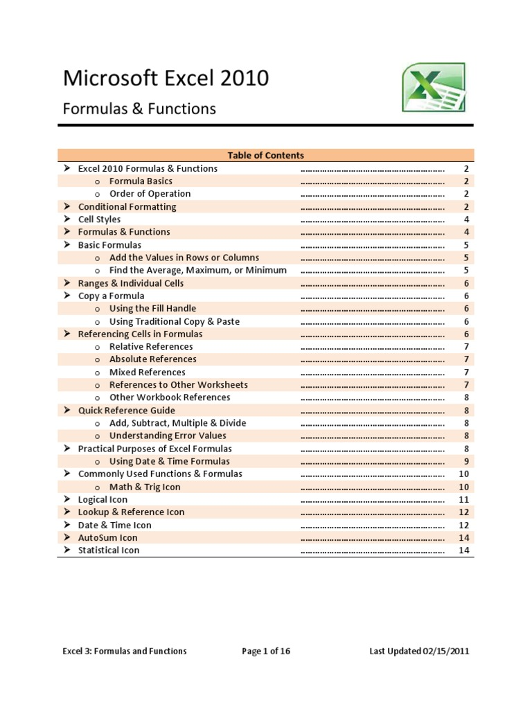 Excel Formulas and Functions   Spreadsheet   Microsoft Excel