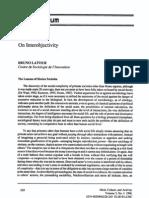 Latour - On Inter Objectivity - 1996
