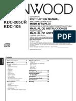 Kenwood CD Receiver Model KDC-205 Manual