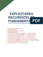 Explicitarea recurentelor fundamentale