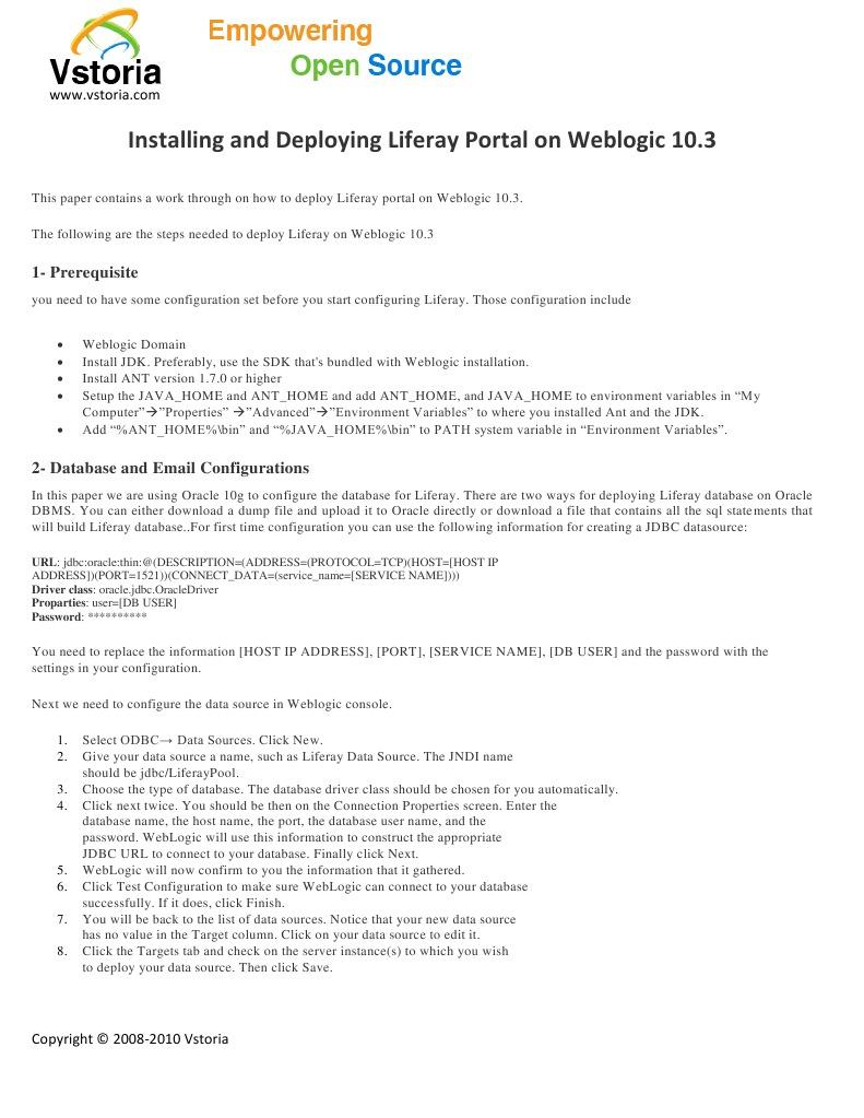 Installing and Deploying Liferay Portal on Weblogic 10