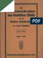 Lienhardt, Hans - Ein Riesenverbrechen Am Deutschen Volke, (1921, 50 S., Scan, Fraktur)