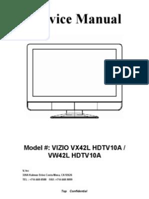 Vizio tv model: VX42L HDTV10A Service Manual | Television | Magenta